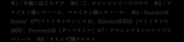 ※1:年齢に応じたケア ※4:C-クエンスシリーズの中で ※5:プロピオン酸レチノール、パルミチン酸レチノール  ※6:Matrixyl® Synthe' 6™(マトリキシルシンセ6)、 Matrixyl®3000(マトリキシル3000)、Dermaxyl®(ダーマキシル) ※7:ゲラニルゲラニルイソプロパノール ※8:オオムギ種子エキス
